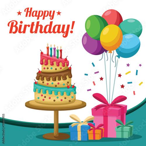 Birthday Cake Presents Balloons Background Stock Vector Adobe Stock