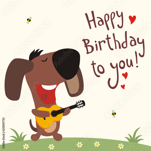Birthday Card With Cartoon Puppy Dog Funny Puppy Dog With Guitar Sings Song Happy Birthday To You Stock Vektorgrafik Adobe Stock