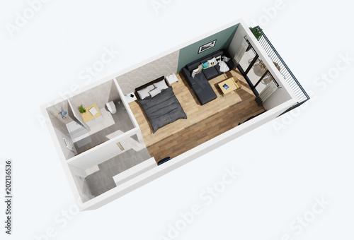 Plan 3d Chambre D Hotel 06 Stock Illustration Adobe Stock