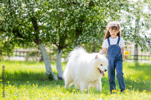 Little Girl With A Big White Dog In The Park A Beautiful 5 Year Old