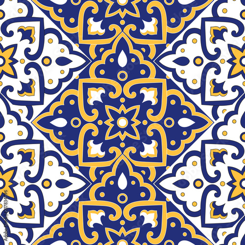 https stock adobe com images portuguese tile pattern vector with scale blue yellow and white mosaic ornaments azulejos mexican talavera spanish or italian sicily majolica texture for kitchen or bathroom flooring ceramic 217834796 start checkout 1 content id 217834796