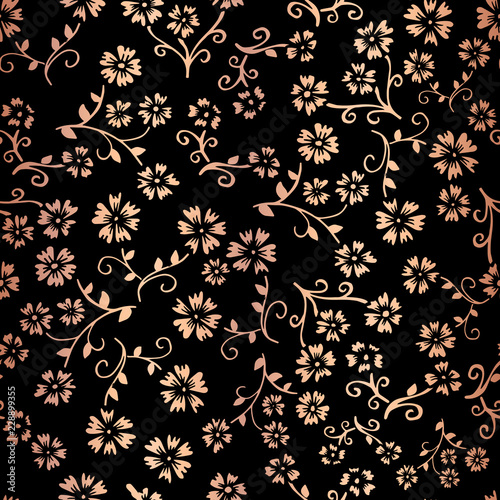 rose gold foil flower vector seamless