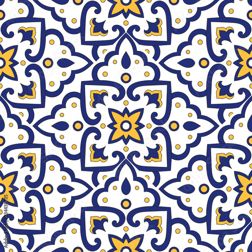 https stock adobe com images mexican tile pattern vector with scale blue yellow and white mosaic ornaments portuguese azulejos mexico talavera italian sicily majolica tiled texture for kitchen or bathroom flooring ceramic 234438705 start checkout 1 content id 234438705