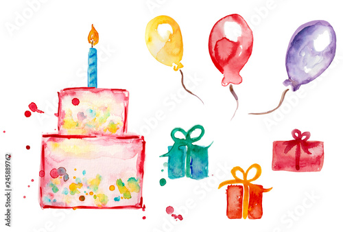Happy Birthday Set Watercolor Birthday Cake Gift Balloon Gifts Cake Stock Illustration Adobe Stock