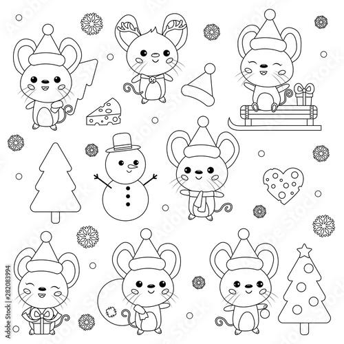 Kawaii Christmas Coloring Pages Novocom Top