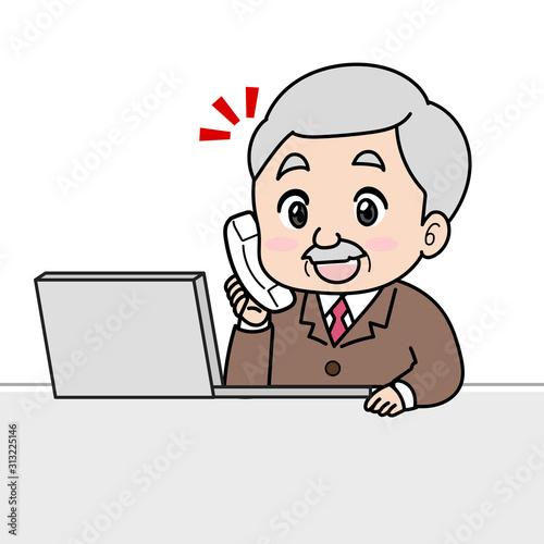 ビジネスマン(年配、上司、社長)の電話イラスト