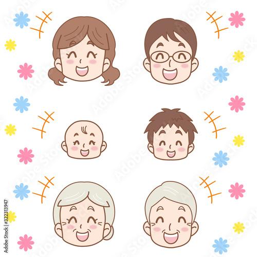 3世帯家族の笑顔のイラスト(ファミリー)