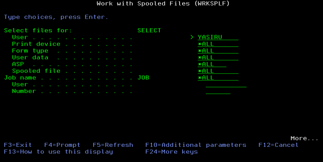 WRKSPLF - Work with Spooled Files
