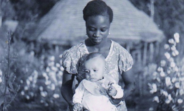 Mother and métis baby in colonial Congo