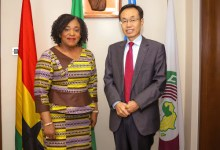 Shi Ting Wang with the Foreign Minister, Shirley Ayorkor Botchwey