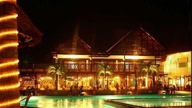 Hotel in Ghana, poolside at night