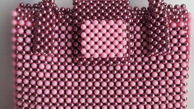 Beads: clutch bag, pink