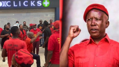 Photo of Clicks shops close as South Africans protest racist advert, with Malema leading the charge