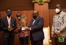 President Akufo-Addo with NSMQ Presbyterian Boys' Senior High School (Presec)