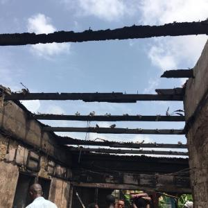 Aftermath of fire at Fise, Amasaman