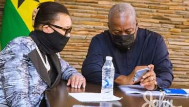 John Mahama interacting with Commonwealth boss, Patricia Scotland