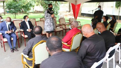 The Secretary-General of the Commonwealth, Baroness Patricia Scotland addressing the family of Rawlings