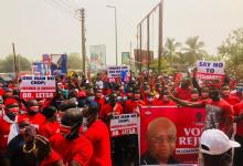 NPP supporters protesting on Monday in Ho