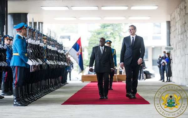President Akufo-Addo inspecting a guard of honour in Serbia