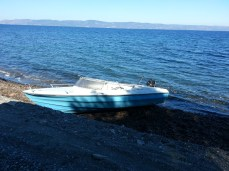 """6 men, 2 women and 4 children arrived on this boat last night. We drove them to the camp in the van. """"Tonight, I see the death"""" one of the men said, responding to my horror that they had been put on this tiny boat."""