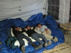 Bedded down for the night, these three young lads dutifully rested and guarded the tent and our equipment.