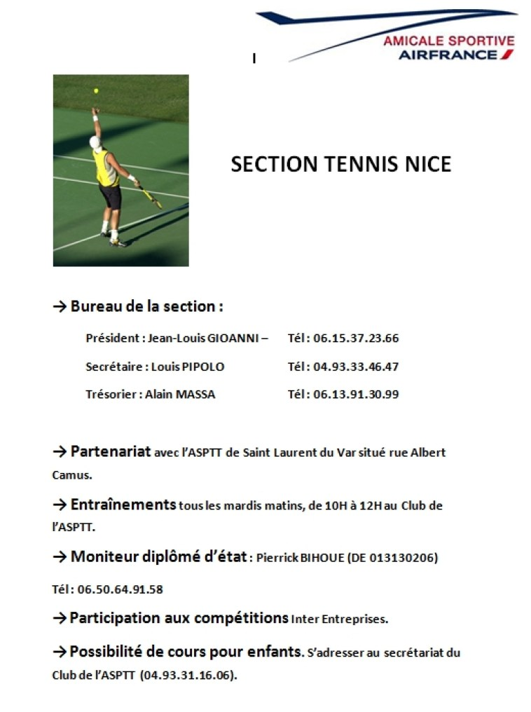 SECTION TENNIS NICE