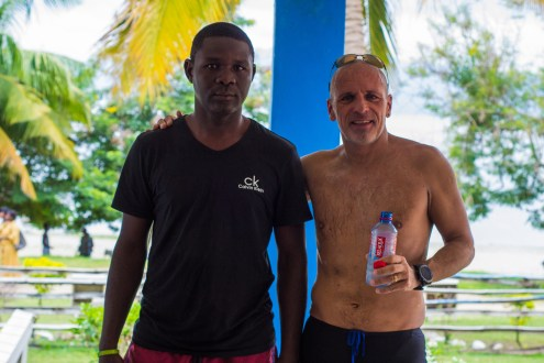 Martin nd Charles the driver after the swim