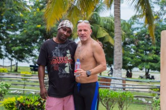 Martin and Sammy the boat guy after the swim