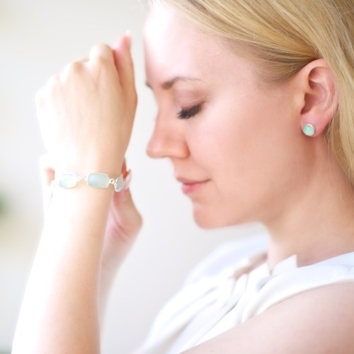Armband Diana Linnea Silver Aqua person