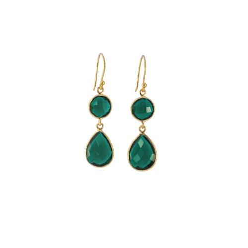 Örhängen Sellma Golden Emerald hängande
