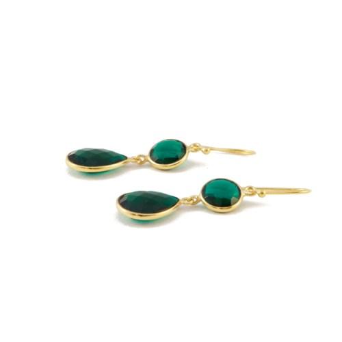 Örhängen Sellma Golden Emerald liggande