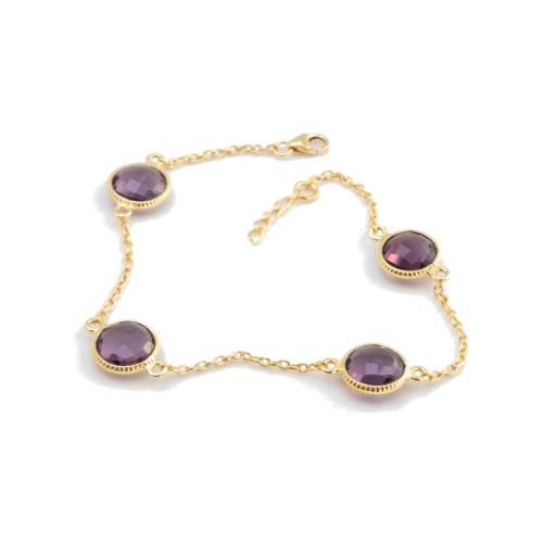Armband Amelie Golden Purpur med guldpläterat silver och lila tillverkad kvarts likt ametist