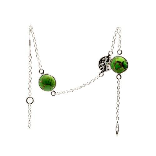 Armband Isabel Golden Vert i silver med två stenar av äkta grön turkos och två hamrade plattor