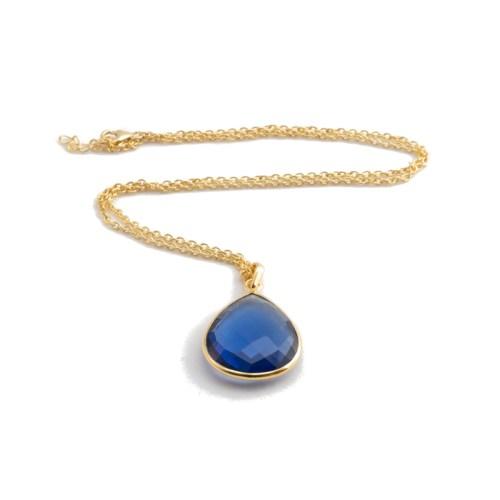Halsband Maja Golden Bleu i guldpläterat silver och en blå sten i tillverkad kvarts likt safir