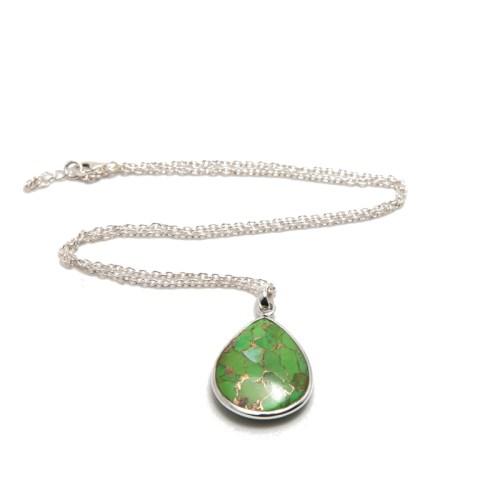 Halsband Maja Silver Vert i silver och en sten av äkta grön turkos