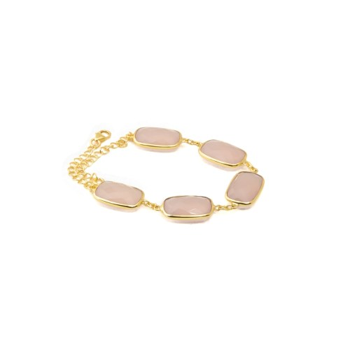 Armband med stenar av rosa kalcedon infattat i guldpläterat sterlingsilver