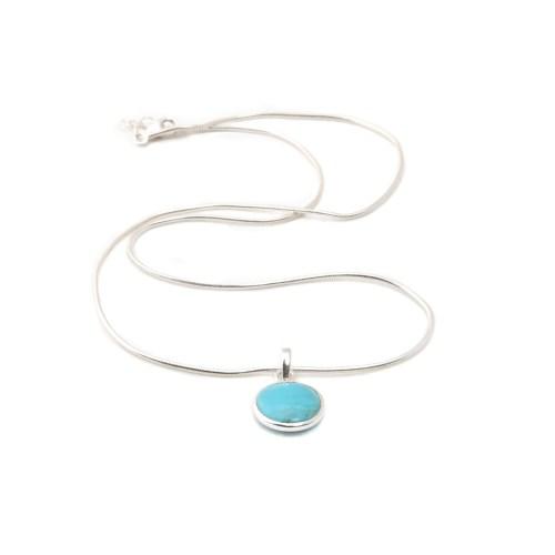 Halsband med sten av äkta turkos infattat i sterlingsilver