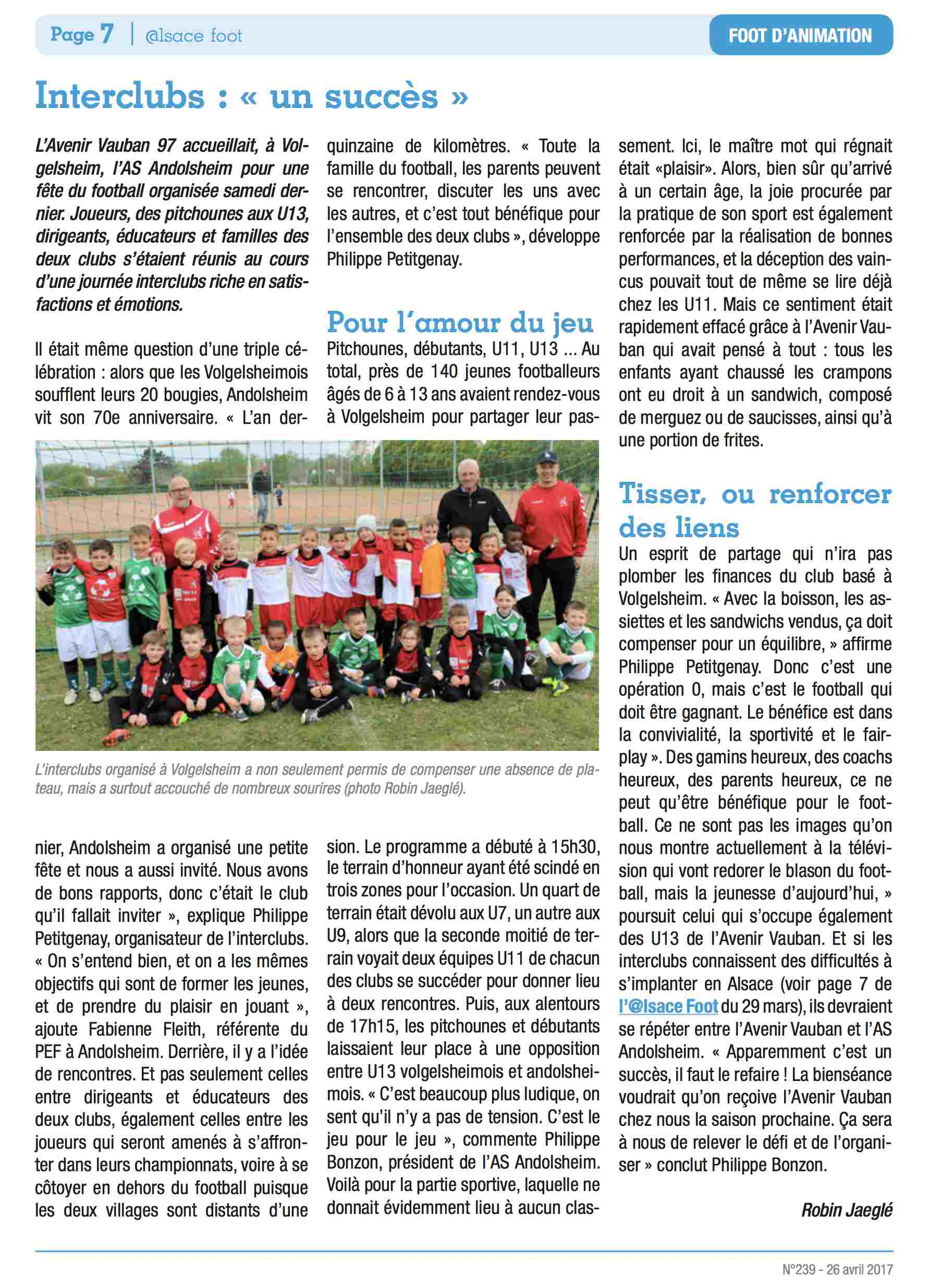 AS ANDOLSHEIM Alsace foot 26 Avril 2017