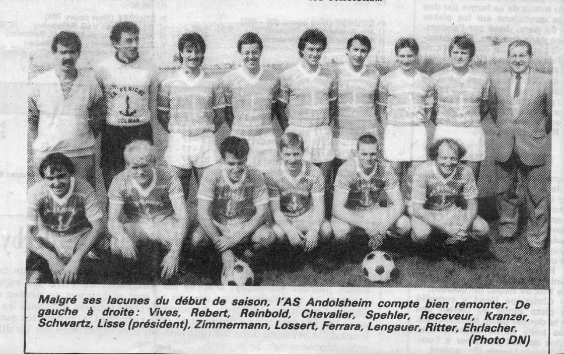 As Andolsheim séniors 1984:1985