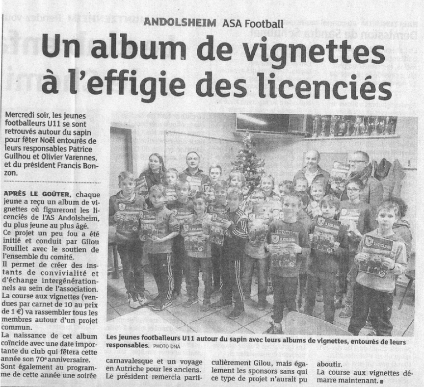 article DNA AS Andolsheim Album du club