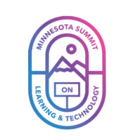 Icon that says Minnesota Summit on Learning & Technology shaped like an oval. In the center of the oval are two mountain tops and a sun.