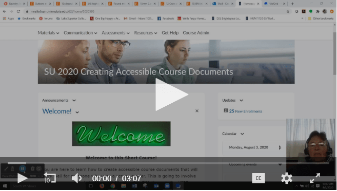Screenshot of Accessible Course Welcome Video