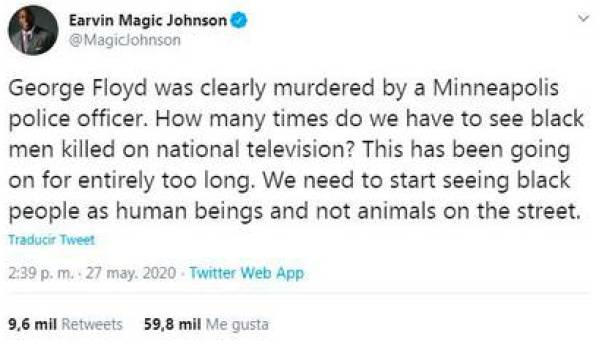 Magic Johnson's rejection of the murder of an African American citizen - part 1