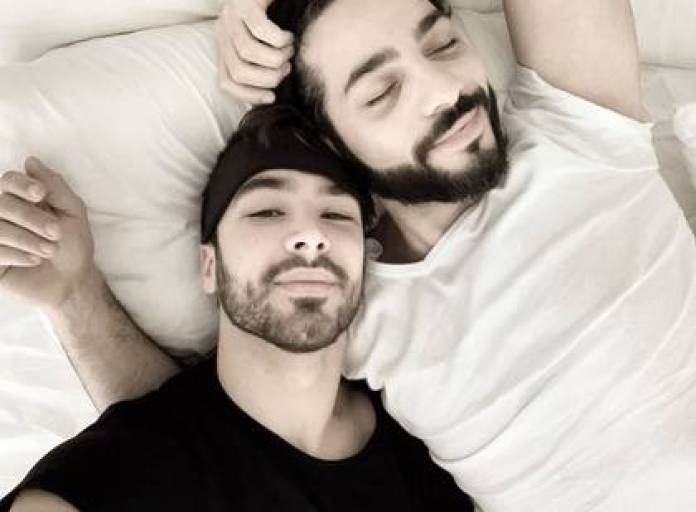 The photo of Guillaume with his partner