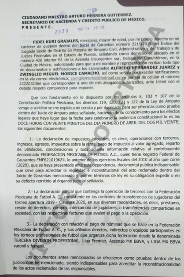 Kuri Grajales' team of lawyers requested classified information from the Ministry of Finance and Public Credit (Photo: Twitter @arteaganoticias)