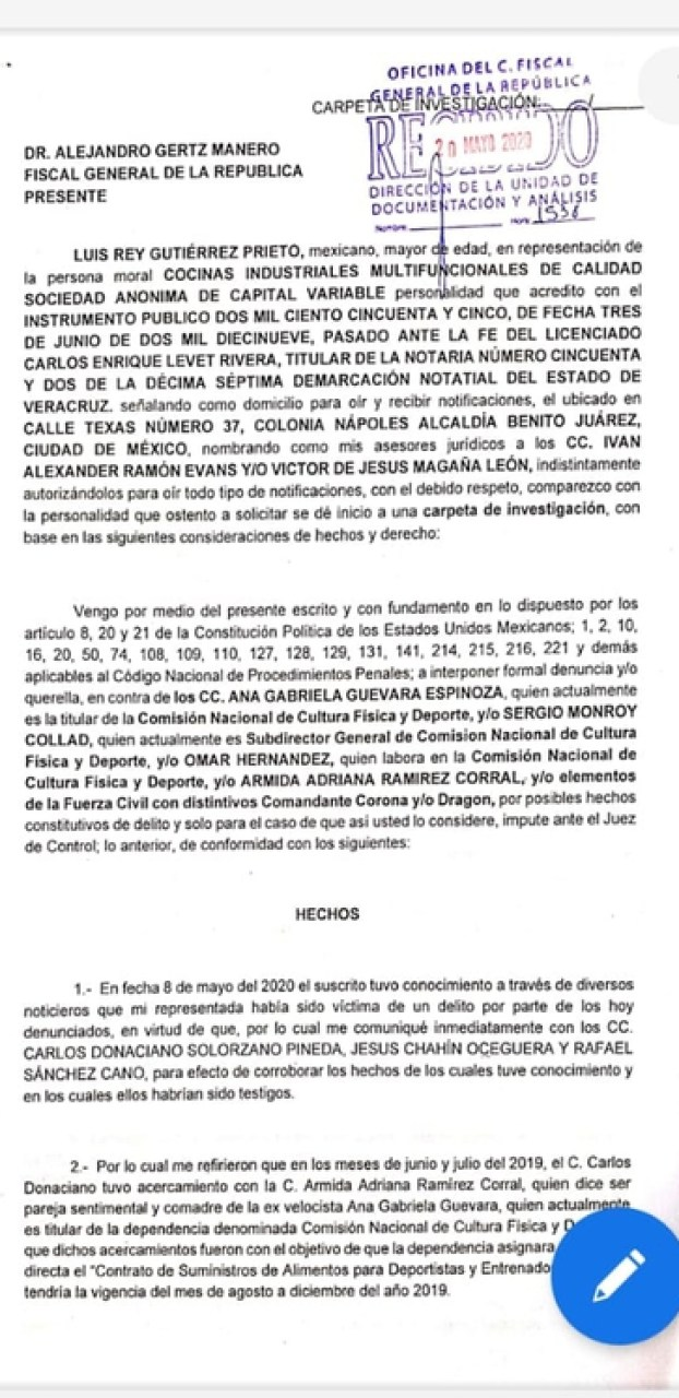 Part of the complaint filed with the FGR (Photo: Twitter @arteaganoticias)