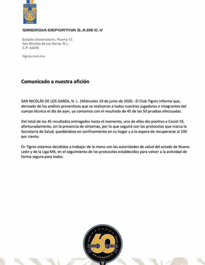 Tigres also issued a statement about the positive for coronavirus in his team (Photo: Tigres UANL)