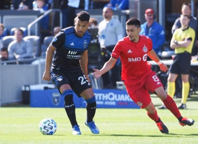 Andrés Ríos seeks to avoid the Marky Delgado brand, during a San José Earthquakes-Toronto FC (Credit: Kelley L Cox-USA TODAY Sports)