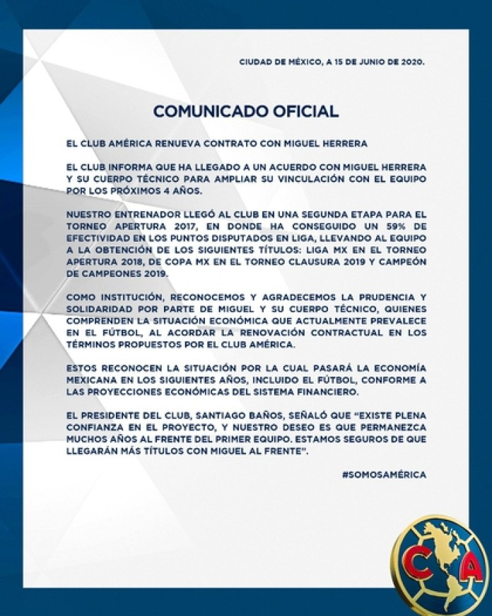 Miguel Herrera renewed for four more years with the azulcrema institution (Photo: Club América)