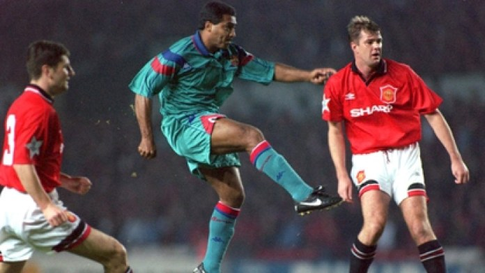 In a Barcelona training, Romario threw a hat at Pep Guardiola and he stopped all practice to applaud him  Mandatory Credit: ALLSPORT